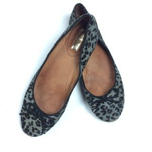 Halogen Ballet Flats Calf Hair Gray Leopard